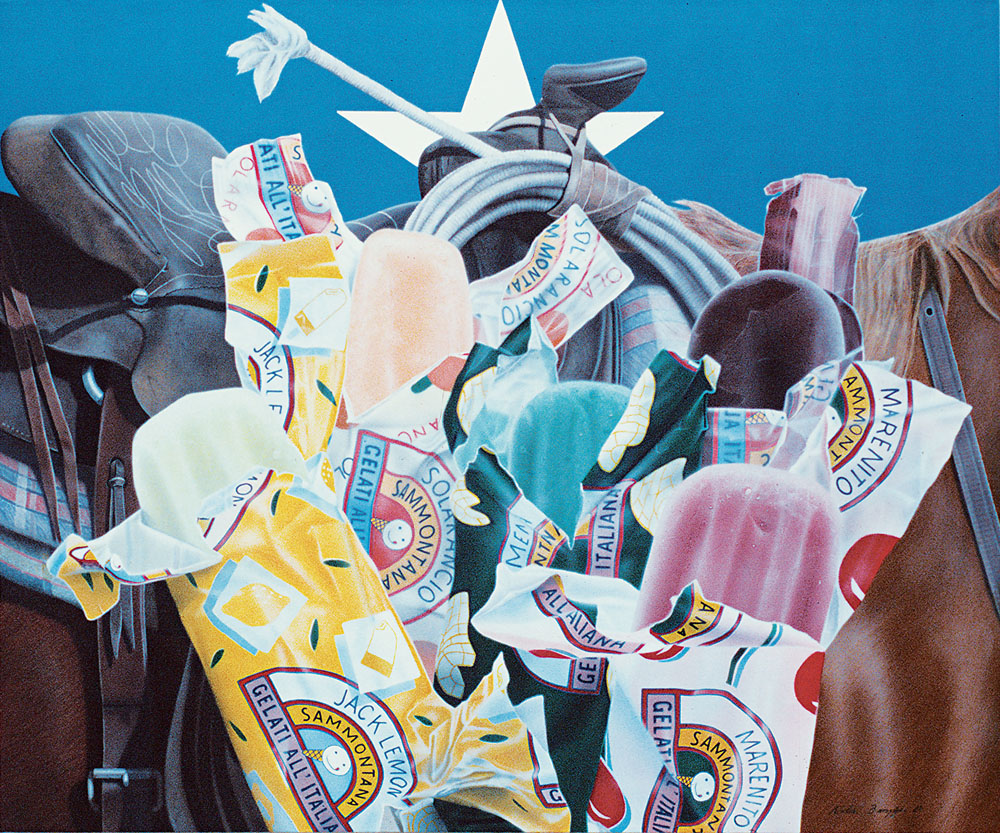 Riding Gear and Popsycles | 1987 acrylic on canvas 125x150 cm